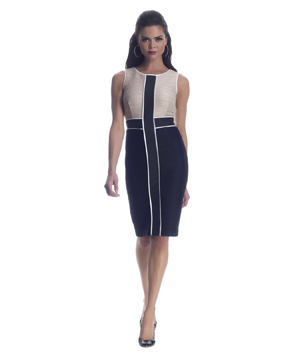 Nue by Shani S545 Sleeveless Contrast Cocktail Dress