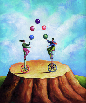 Illo: people juggling on unicycles