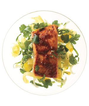 Red Curry Salmon With Bok Choy and Pineapple Slaw