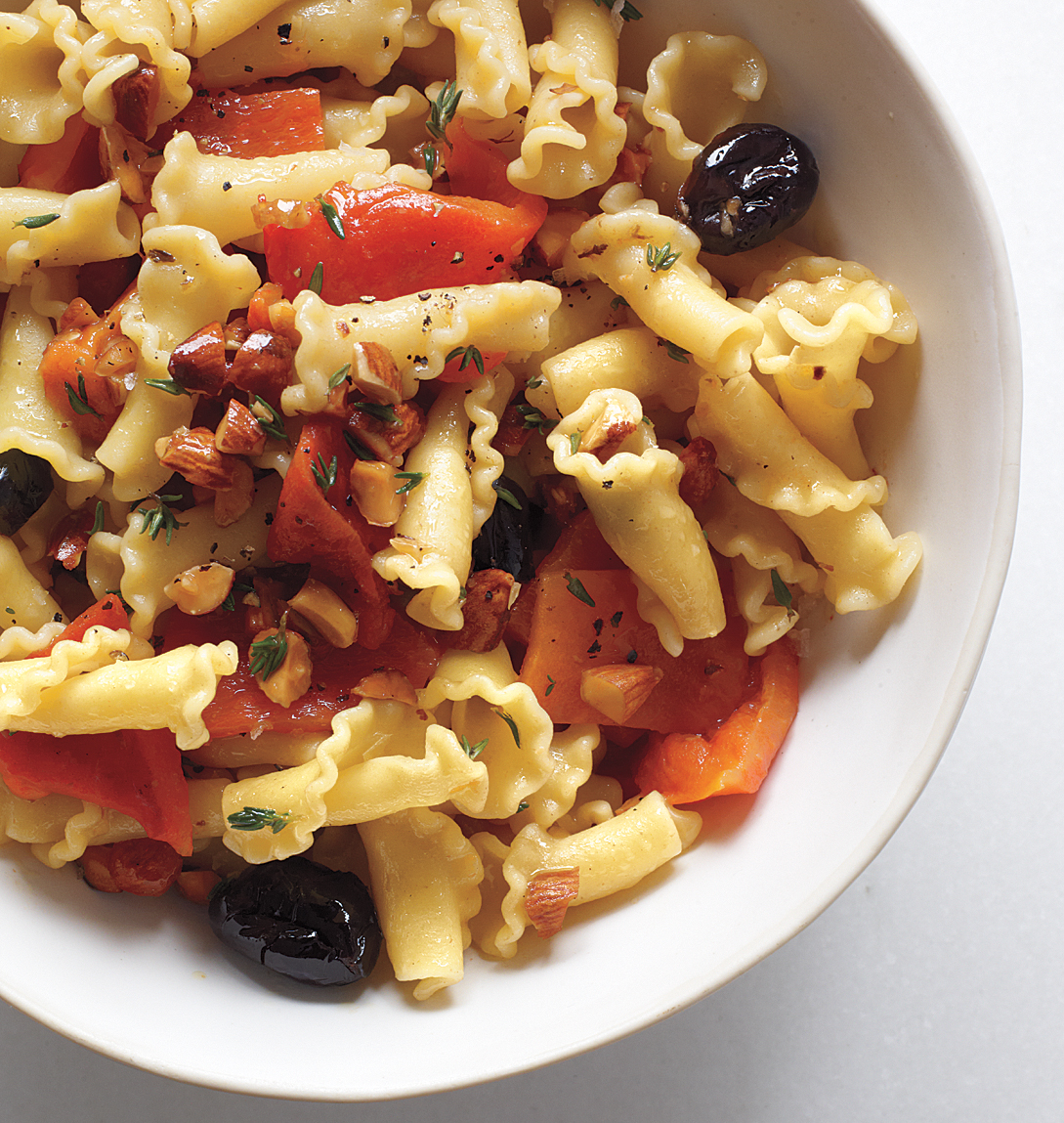Mediterranean Campanelle With Roasted Red Peppers and Almonds