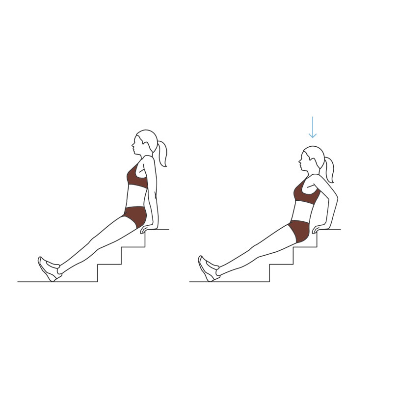 Stairway Workout: triceps stair dip