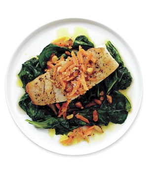 Seared Cod With Carrot-Almond Dressing