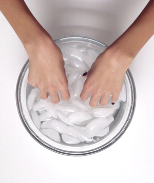Bowl of ice to help nail polish dry