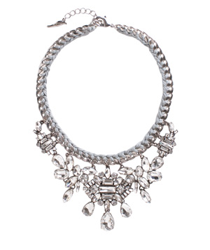 Chloe + Isabel necklace of thread, rhinestones, and silver plate