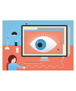 Illo: person being watched by computer