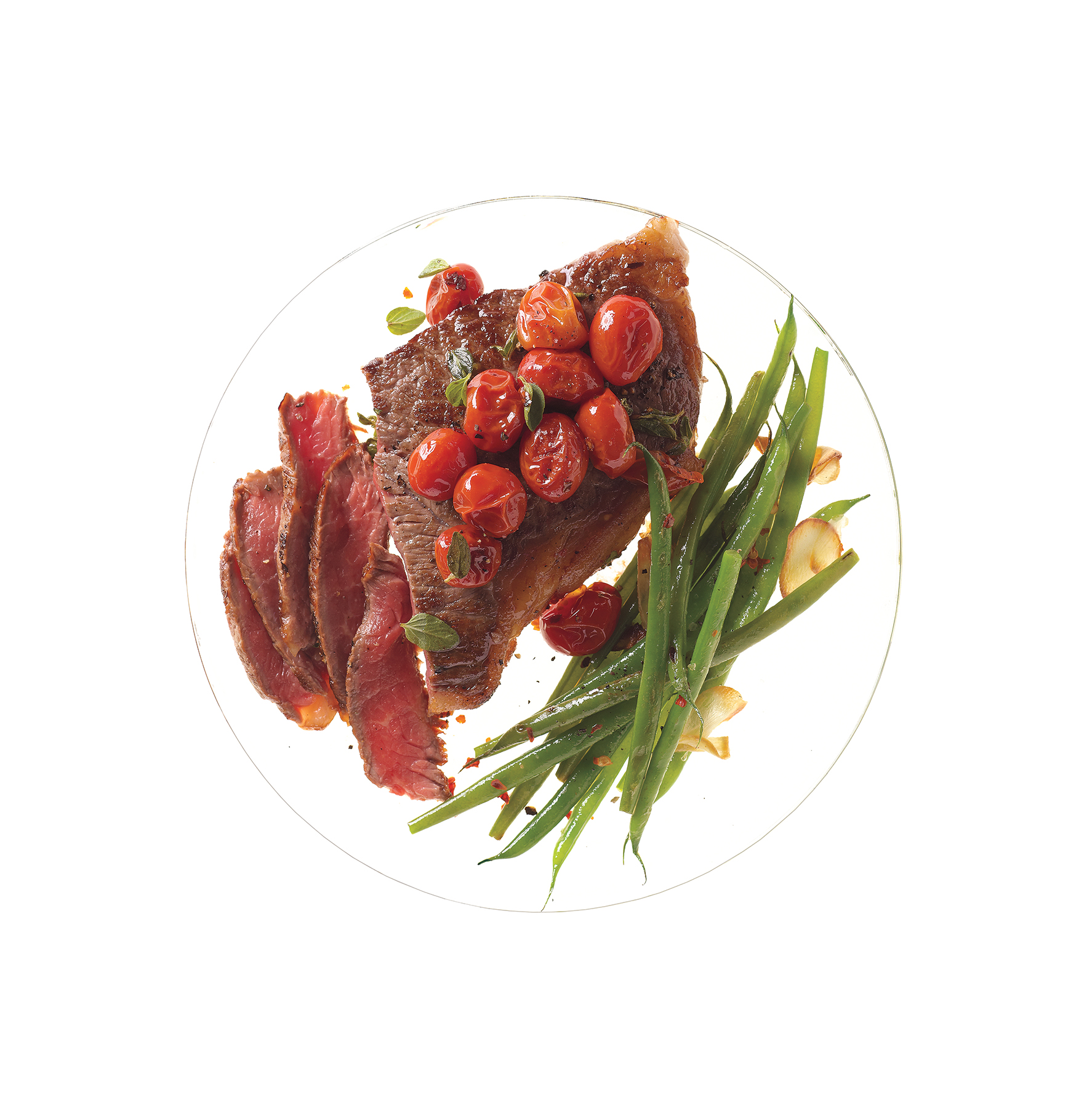 Steak With Skillet Tomatoes and Spicy Sautéed Green Beans