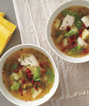 Spicy Fish and Potato Soup With Bacon and Chives