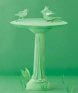 Paper construction of bird bath by Matthew Sporzynski