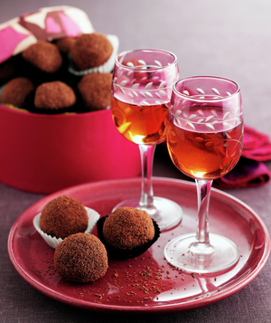 Chocolate truffles and glasses of sherry