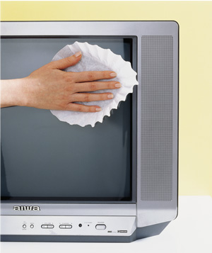 Coffee filter TV screen cleaner