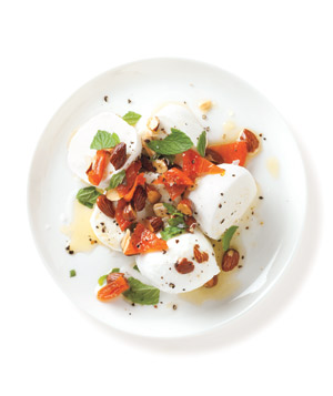 Bocconcini with Apricot, Mint, and Almond Sauce