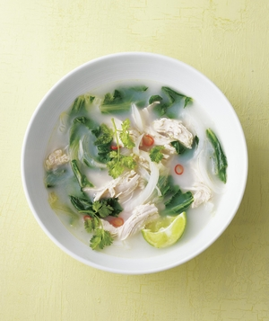Coconut Chicken Soup With Chilies and Lime