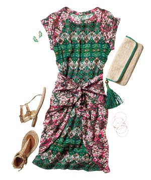 Outfit with pink and green dress, clutch, sandals