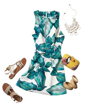 Outfit with palm-leaf-print dress, toucan clutch, sandals