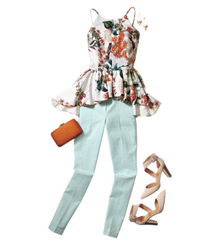 Outfit with peplum top and pastel cotton pants