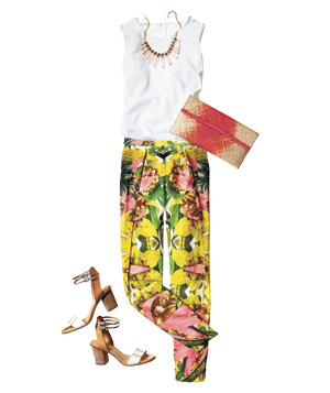 Outfit with tropical floral pants and white tank blouse
