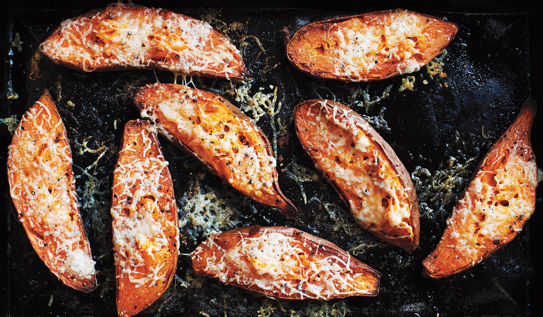 Cheesy Roasted Sweet Potatoes