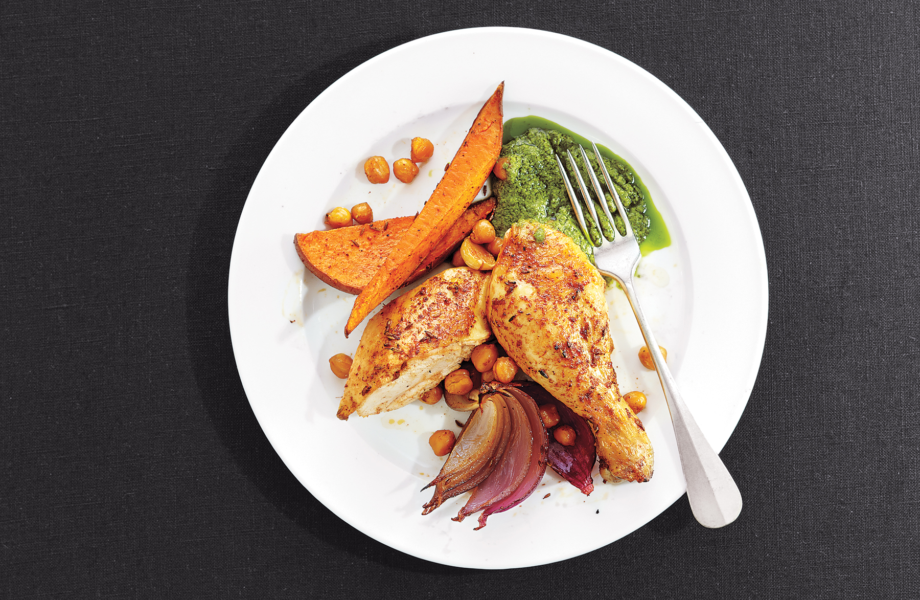 Roast Chicken With Sweet Potatoes and Chickpeas