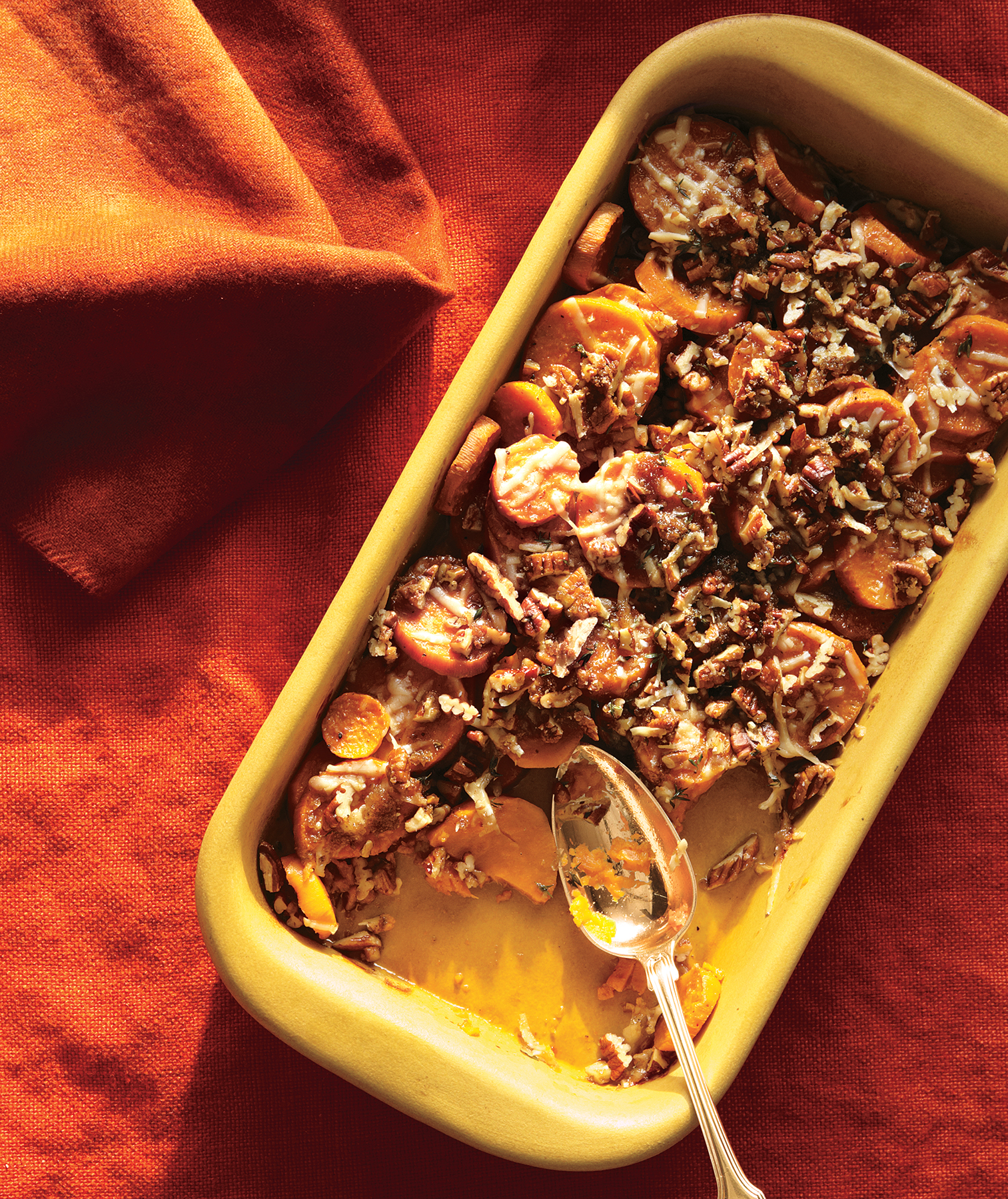 Sweet Potatoes With Pecans and Parmesan