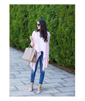Light pink cardigan with jeans