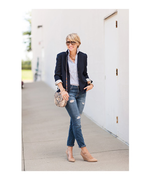 Navy blazer and jeans