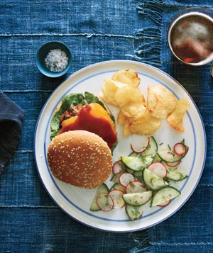 Barbecue Turkey Burgers With Cucumber Salad