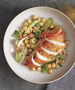 Coriander Roasted Chicken With Chickpea and Avocado Salad