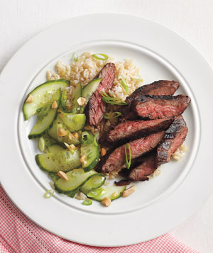 Spicy Hoisin Skirt Steak With Cucumber Salad