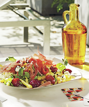 Corn and Wax Bean Salad With Cherries and Prosciutto