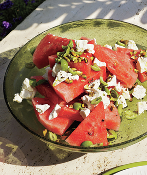 Watermelon, Green Olive, and Pistachio Salad