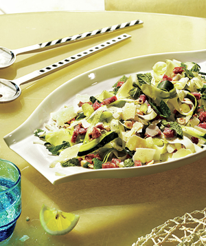 """Shaved Zucchini """"Pasta"""" With Hazelnuts and Mint"""