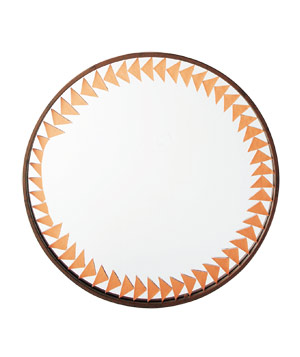 Mirror with leather decoration