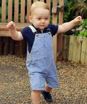 Prince George with striped overalls