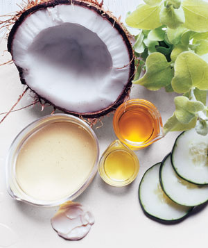 Coconut, argan oil, licorice, and cucumber with natural beauty products