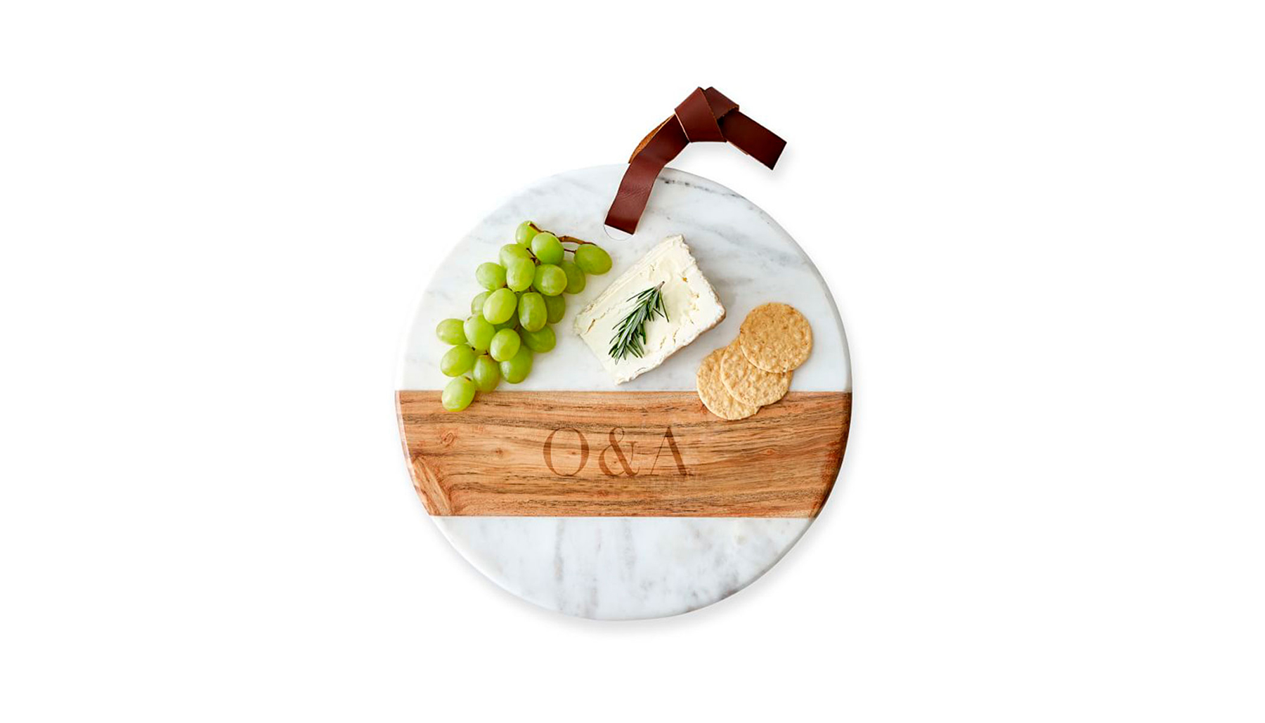 wood and marble round cheese board