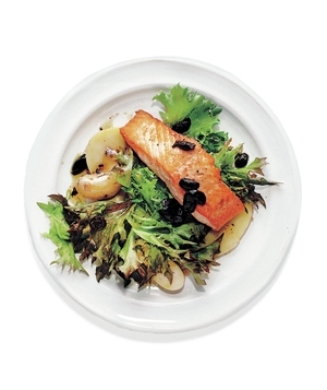 Seared Salmon With Olives, Rosemary, and Potatoes