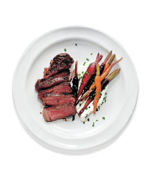 Seared Strip Steaks With Sweet-and-Sour Carrots and Whipped Goat Cheese