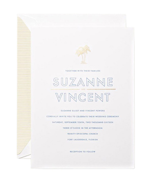 Pearl White Embassy Tropical Themed Wedding Invitation