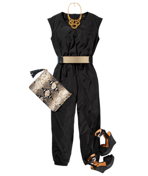 Black jumpsuit with shoes and accessories