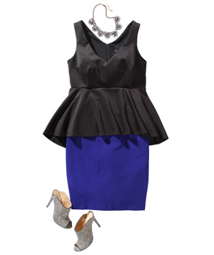Black peplum top, blue skirt, shoes, and necklace