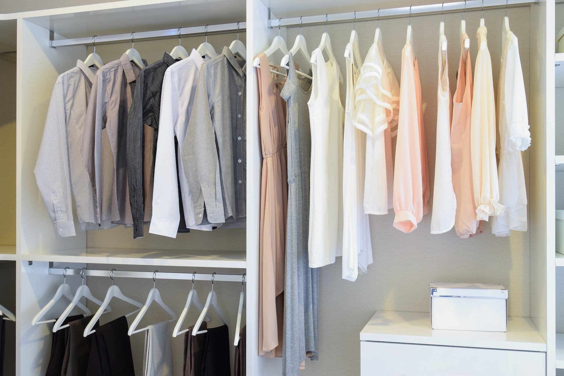 Organized Closet With Shirts