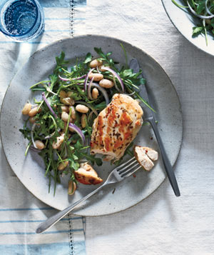 Rosemary Chicken With Arugula and White Beans