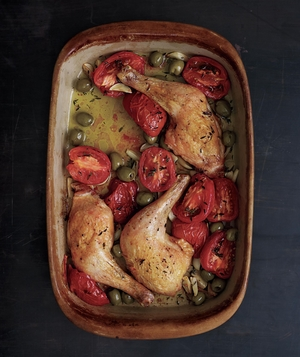 Saucy Baked Chicken Legs with Olives and Tomatoes