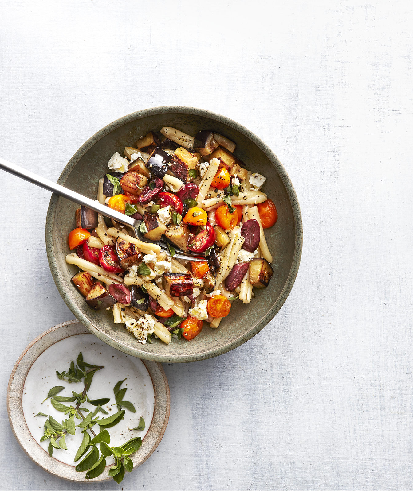 Roasted Eggplant and Olive Pasta Salad
