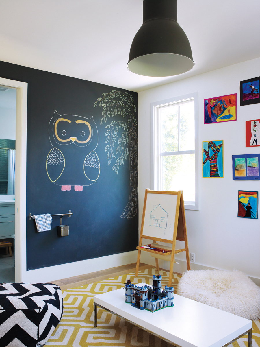 Kid's room with chalkboard paint wall