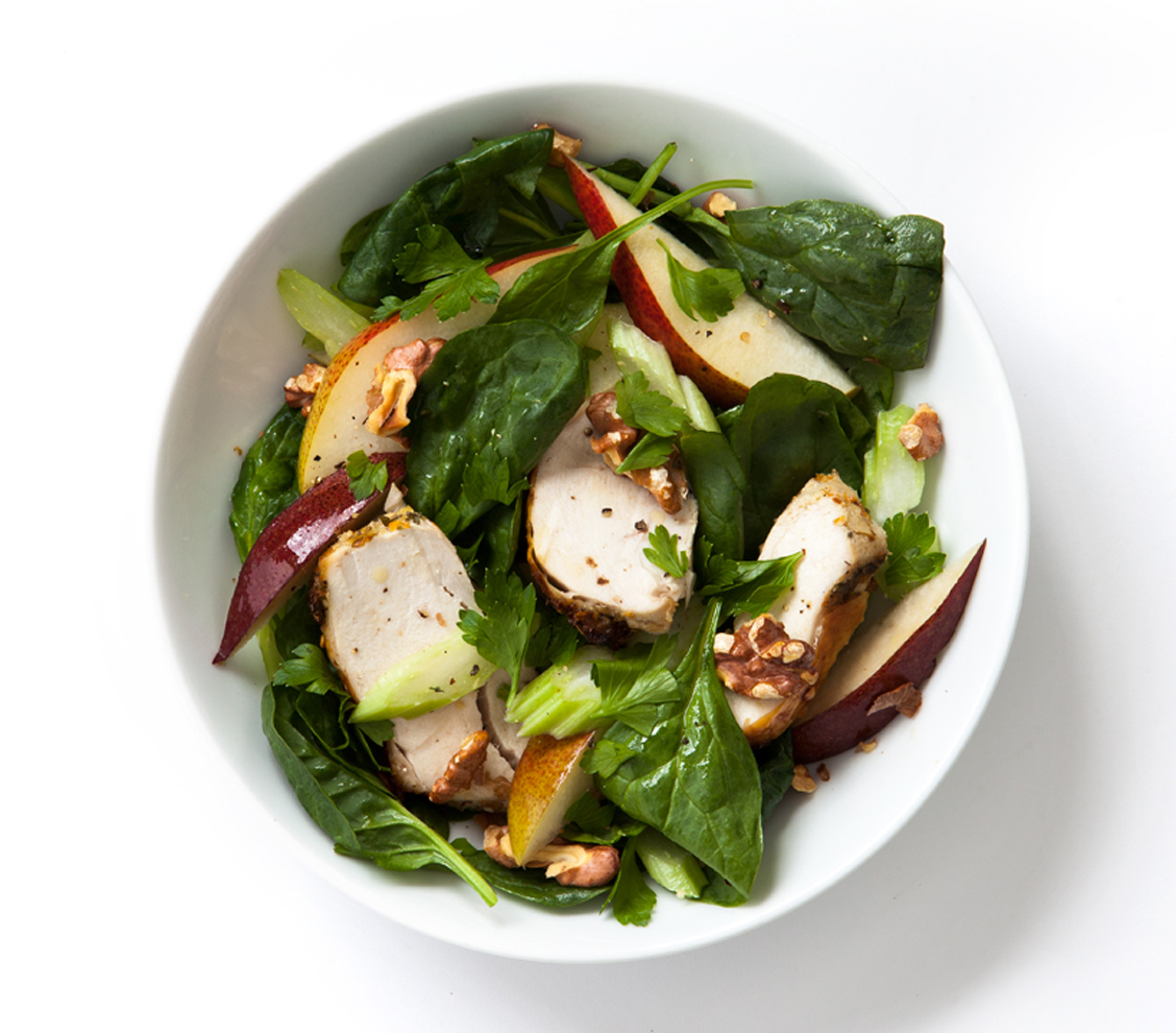 Chicken, Spinach, Pear, Celery, and Parsley Salad