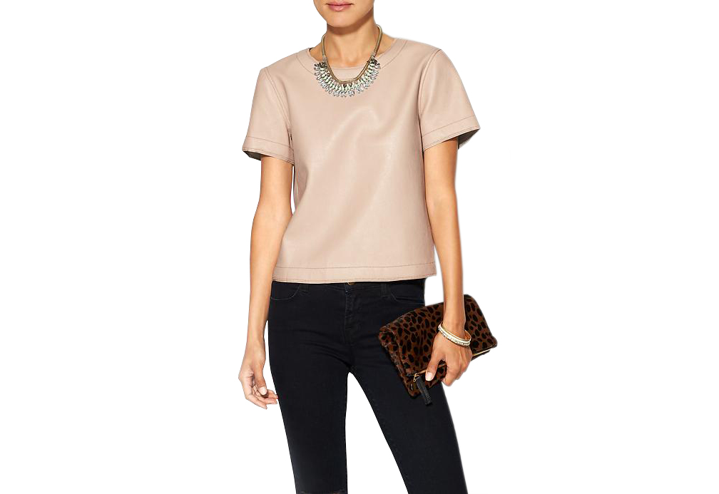 BCBGMaxAzria Vegan Leather Beata Short Sleeve Oversized Top