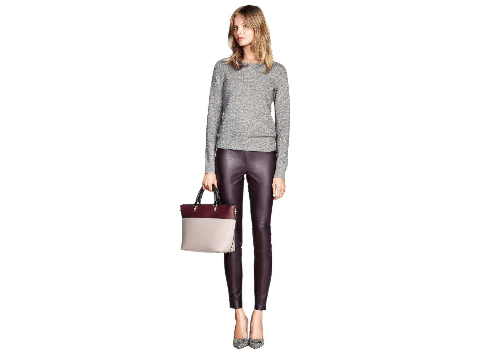 H&M Imitation Leather Pants in Dark Purple