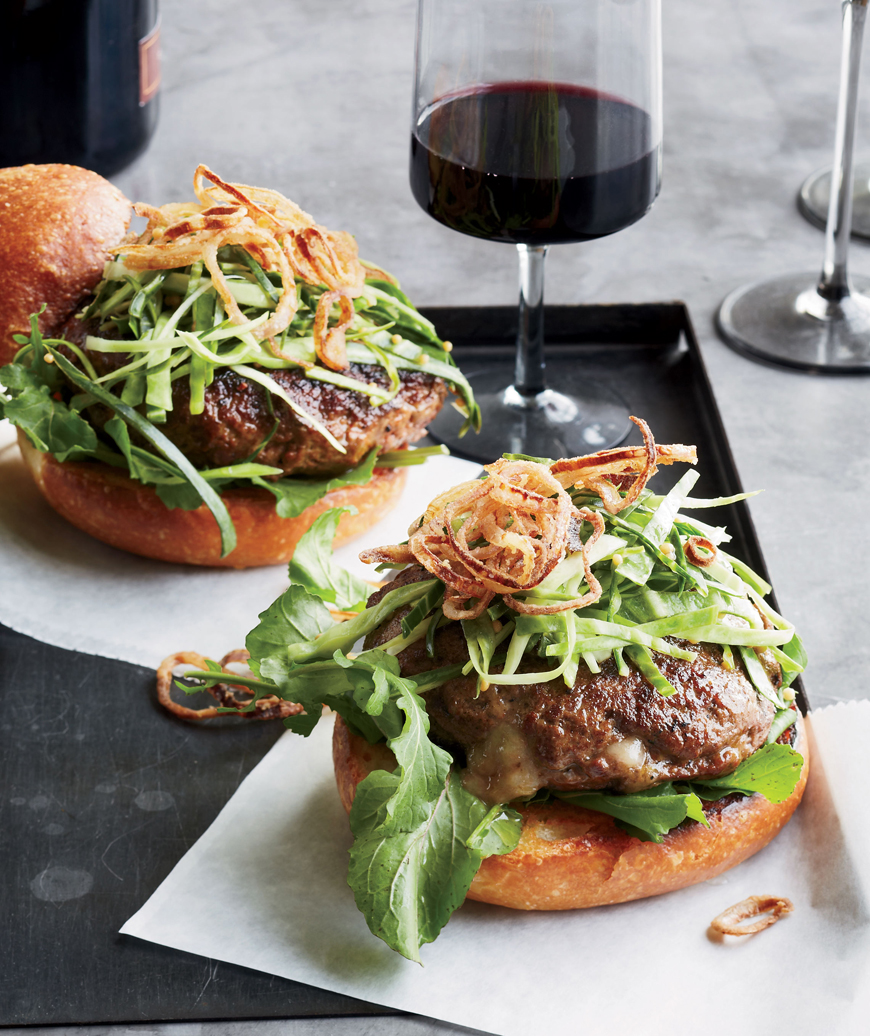 Cheddar-Stuffed Burgers with Pickled Slaw and Fried Shallots, Kyle Bailey