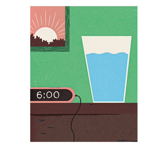 Illustration: Alarm clock at 6am and a glass of water